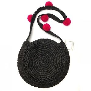 Raffia Woven Straw Pom Pom Circle Shoulder Bag